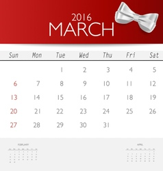 2016 calendar monthly calendar template for march vector