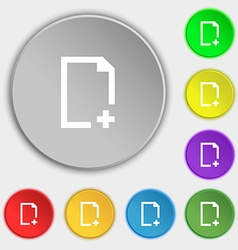 Add file icon sign symbol on eight flat buttons vector