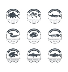 Perfect set of fish farming logos vector
