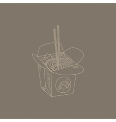 Noodles hand drawn sketch vector