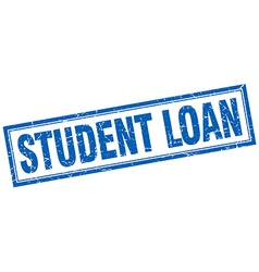 Student loan blue square grunge stamp on white vector