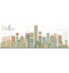 Abstract dallas skyline with color buildings vector