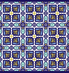 Blue ornament traditional portuguese azulejos vector