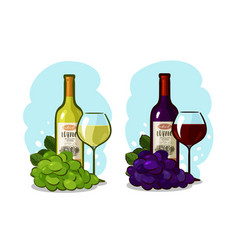 bottle of red or white wine glass and grapes vector image vector image