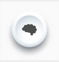 brain icon on a white 3d button vector image vector image