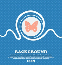 Butterfly sign icon insect symbol Blue and white vector image