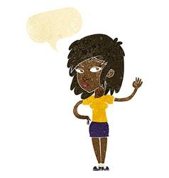 Cartoon pretty woman waving with speech bubble vector