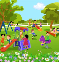 Children playing in the garden vector