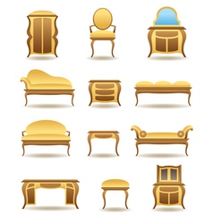 Classical home furniture icons set vector image vector image