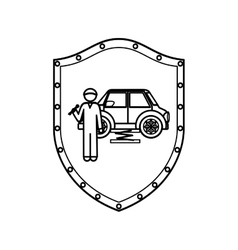 Contour shield of mechanic with spanner and car vector