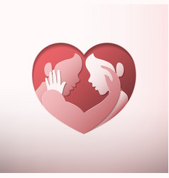 Couple caressing in heart shaped frame paper art vector