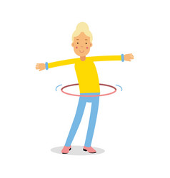 cute blonde teenager girl spinning a hula hoop vector image