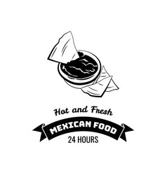 Emblem of mexican food nachos vector