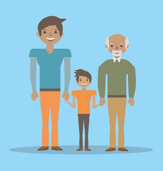 Family grandfather father and son lovely vector