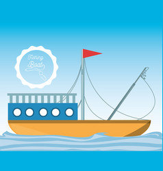 Fishing boat over sea vector