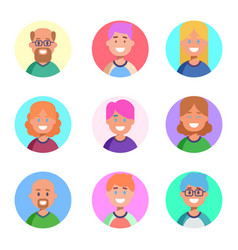 flat design icons collection of people avatars vector image vector image