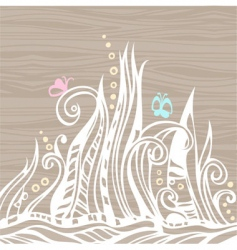 floral doodles on wood vector image vector image