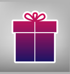 Gift sign purple gradient icon on white vector