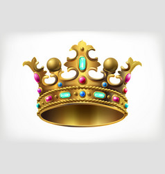 golden royal crown with multi-colored precious vector image