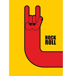 Hand rock and roll sign poster for rock festival vector