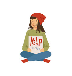 Homeless young woman character sitting on the vector