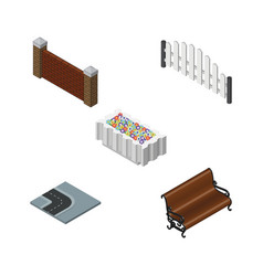 Isometric urban set of sitting barricade barrier vector