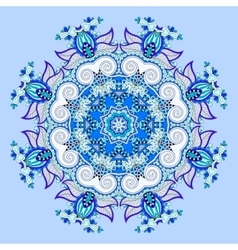 Mandala blue circle decorative spiritual indian vector