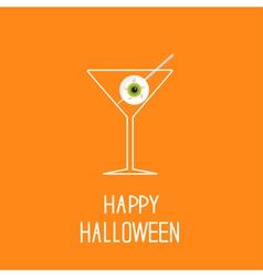 Martini glass with eyeball halloween card vector