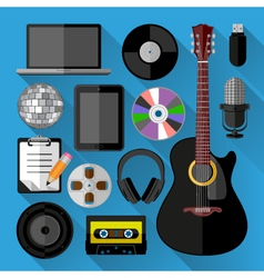 Music icons bundle vector image