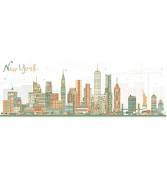 New york usa skyline with color skyscrapers vector