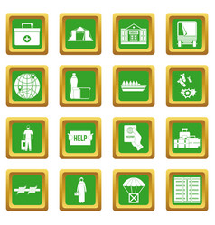 Refugees problem icons set green vector