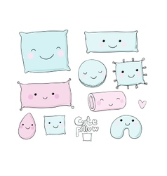 Set of cute cartoon pillows vector