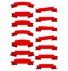 set of red cartoon ribbons and banners vector image vector image