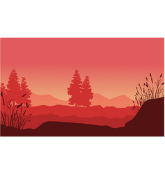 Silhouette of desert with spruce landscape vector