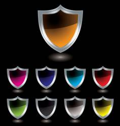 silver shield black vector image vector image
