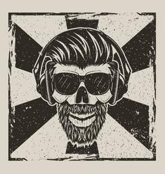 Skull music hipster vintage grunge design vector