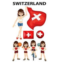 Swistzerland representative and many sports vector image vector image