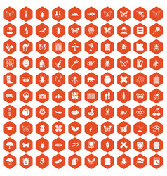 100 insects icons hexagon orange vector