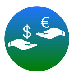 currency exchange from hand to hand dollar adn vector image