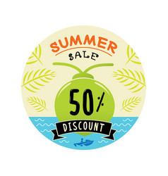 Fifty percent discount summer sale logo with vector