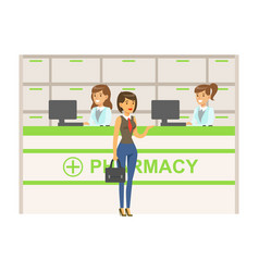 Woman in vest and tie in pharmacy choosing and vector