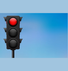 traffic lights with red stop sign on blue sky vector image