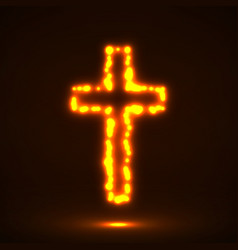 Glowing cross christian symbol vector