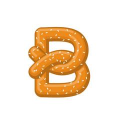 Letter b pretzel snack font symbol food alphabet vector