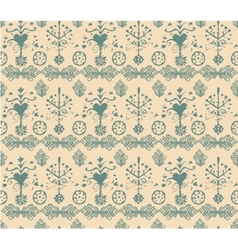 Seamless vintage retro abstract hand-drawn floral vector
