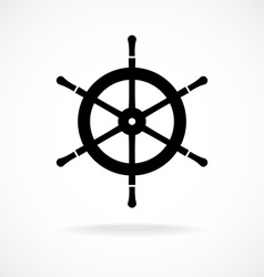Yacht wheel symbol helm silhouette vector