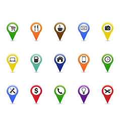 Color gps and navigation pointer icons set vector