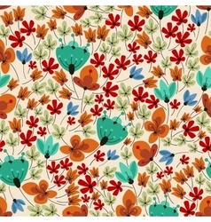 Retro field flowers seamless pattern vector