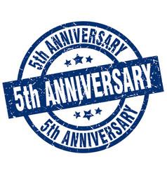5th anniversary blue round grunge stamp vector