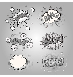 Boom comic book explosion set vector